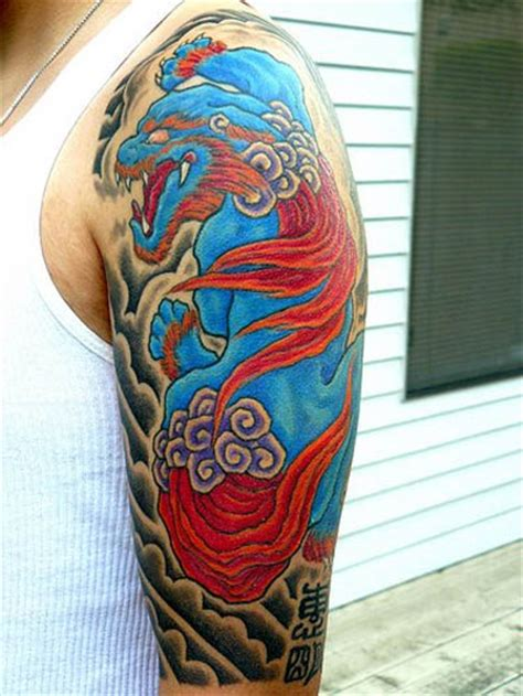 blue foo tattoo and blue foo sleeve ink tattoos