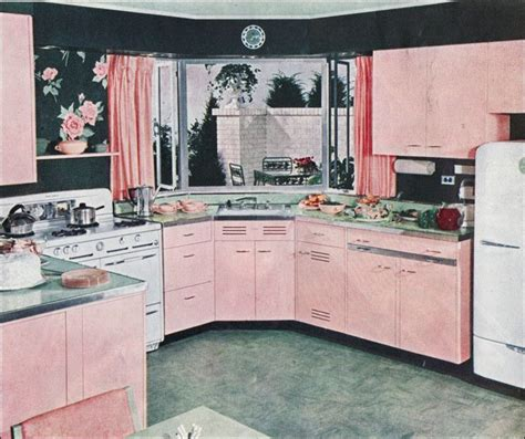 Pink Retro Kitchen Collection by 1949 Mid Century Kitchen Design In Pink And Green 1940s
