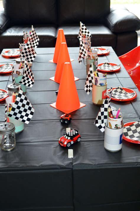 cing theme decorations retro racing car birthday buffet ideas