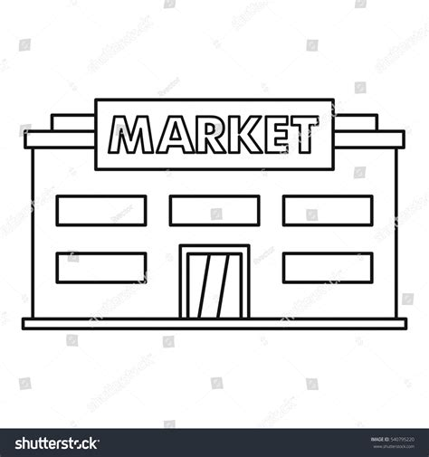 Outline Picture Of Market by Market Icon Outline Illustration Market Vector Stock Vector 540795220