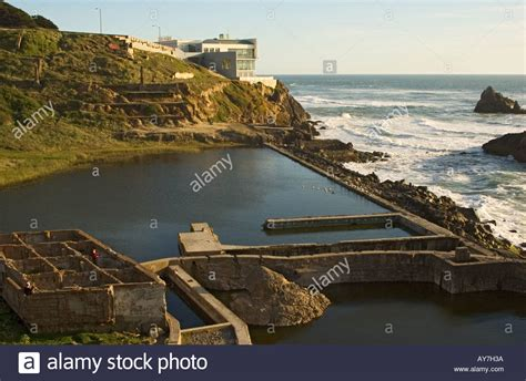 san francisco cliff house california san francisco cliff house restaurant ruins of sutro baths stock photo