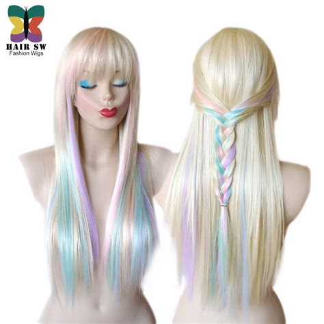 pastel colored wigs pastel color highlights rainbow wig multi colorful