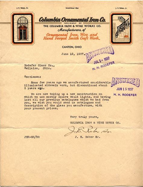 Columbia Mba Defer by 1937 Letter To Rodefer Glass Co Glassian