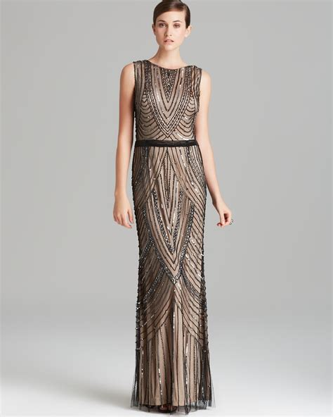 beaded gown papell gown sleeveless beaded in beige black