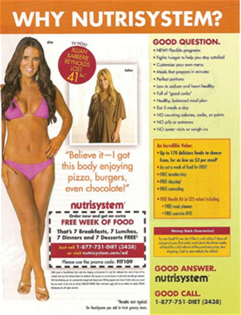 nutrisystem commercial actress jillian nutrisystem girl jillian coupon for nutrisystem