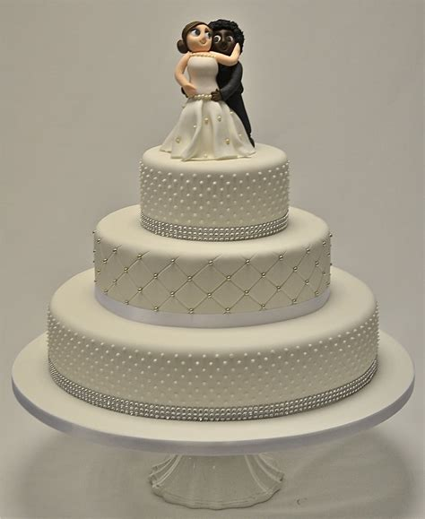 Wedding Cake 3 Tier by 3 Tier Piped Dots And Diamante Wedding Cake Wedding