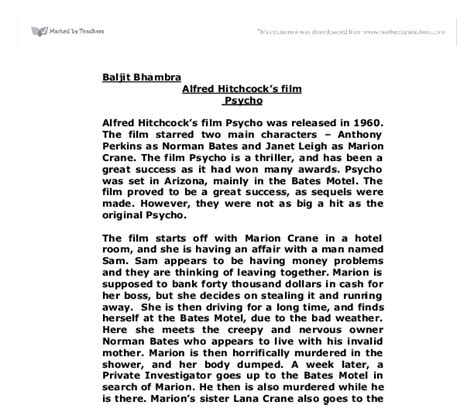 Psycho Review Essay by Techniques Used In Psycho Gcse Media Studies Marked By Teachers