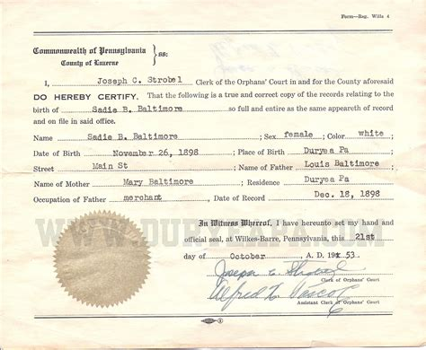 Pa Birth Records Duryea Pennsylvania Historical Homepage 2012 1st Update