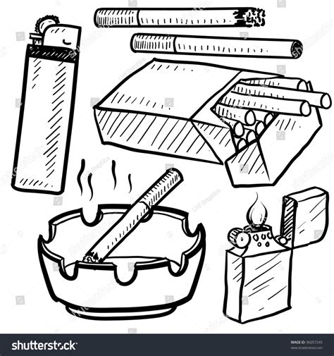 Doodle Style Cigarette Objects In Vector Format