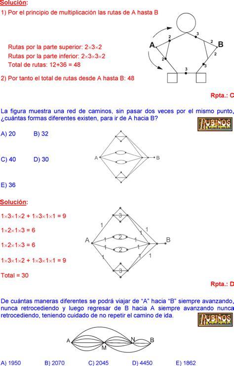 preguntas de razonamiento matemático razonamiento matem 225 tico conteo de rutas ejercicios