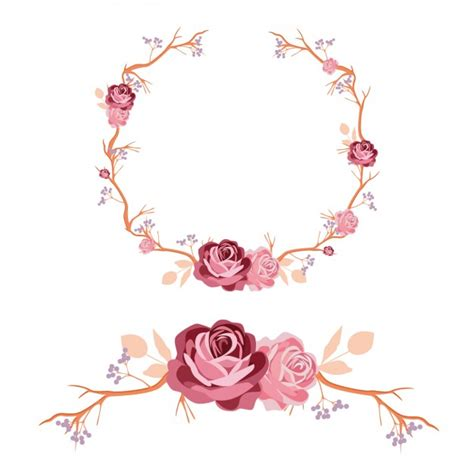 design ornaments roses wreath and ornament design vector free