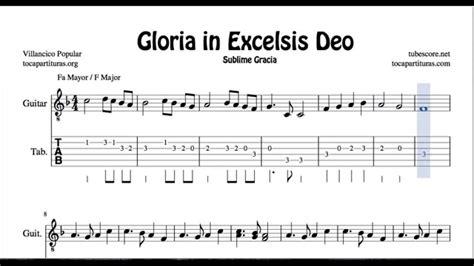 gloria testo gloria in excelsis deo tab sheet for guitar f major