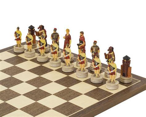 romans  greeks hand painted chess set  italfama