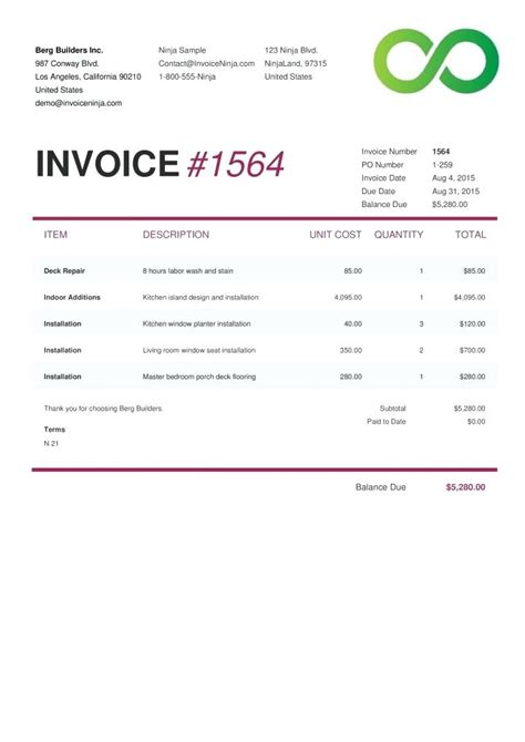 writing invoice template written invoice template business invoice sle template