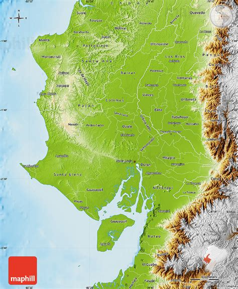 geographical map of ecuador physical map of guayas