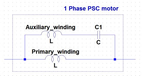 permanent split capacitor vs split phase modelling a quot single phase permanent split capacitor motor quot in ltspice electrical engineering