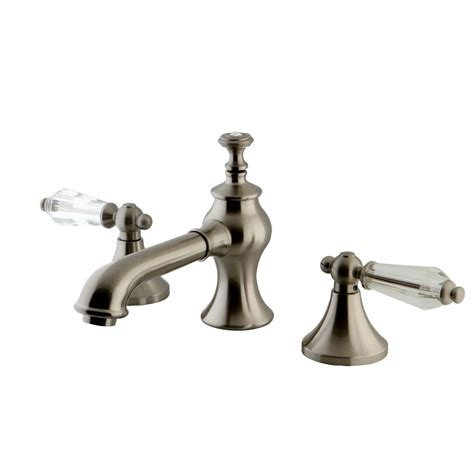 crystal bathroom faucets kingston brass crystal lever 8 in widespread 2 handle mid
