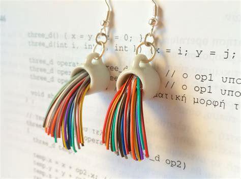 Geeky But Almost Cool Jewelry Shaped Like Molecules by Rainbow Mug Earrings Handmade Gift Engineer