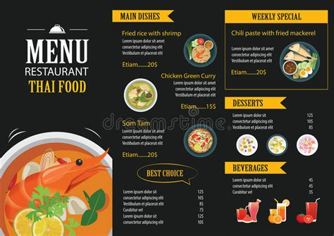 flat design menu exles thai food restaurant menu template flat design stock