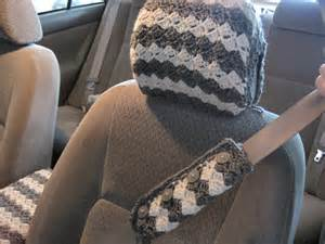 Crochet Seat Cover For Car Crochet Car Front Seat Headrest Cover Grey Aran