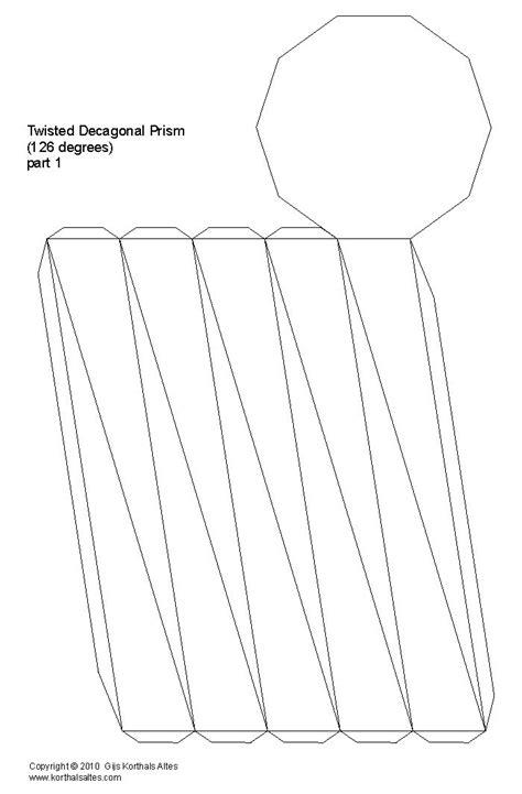 Rectangular Prism Origami - net twisted decagonal prism design inspiration