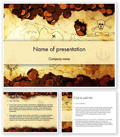Pirate Treasure Map Powerpoint Template Backgrounds 12567 Poweredtemplate Com Pirate Powerpoint Template