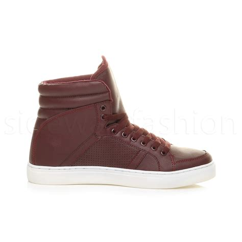 mens slippers ankle high mens boys hi high top flat casual lace up trainers ankle