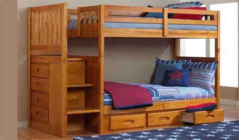 Bunk Bed by Discovery World Furniture Honey Staircase Mission Bunk Bed