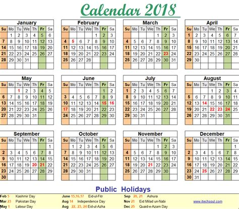 Calendar 2018 With Holidays Pakistan Colorful Printable Calendar 2018 Including