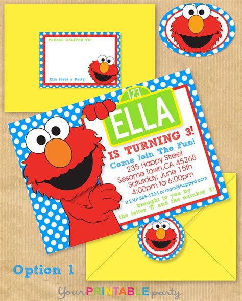 Elmo Party Invitation 5x7 With Address By Yourprintableparty Elmo Birthday Invitations Template Free