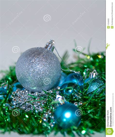 blue and silver christmas decorations royalty free stock