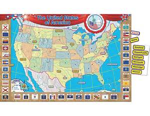 us map repositionable bulletin board display set