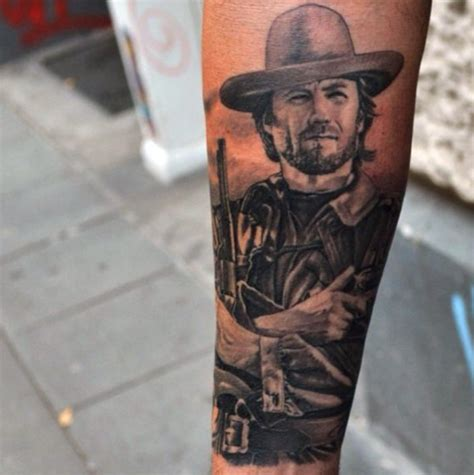 clint eastwood tattoo realistic looking black and white clint eastwood portrait