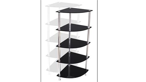 Black Glass Corner Shelf by Corner Black Glass Stand 5 Tier Homegenies