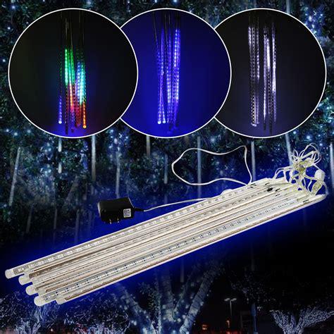 4m white led snowfall icicle lights 50cm drop 144led lights meteor shower snowfall tree garden 30cm white ebay