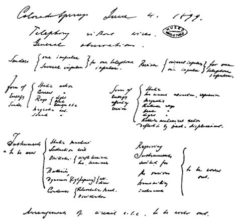 Nikola Tesla Notes Colorado Springs Notes June 1 30 1899 Open Tesla Research