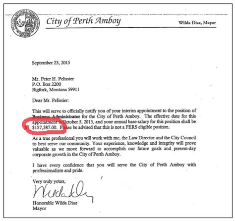 Explanation Letter For I 131 Perth Amboy Won T Explain Why City Official Was Paid More Than Legally Allowed