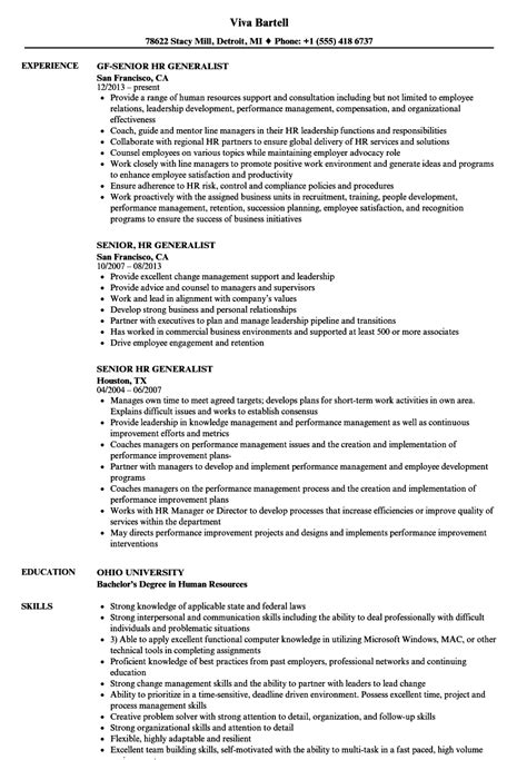Hr Generalist Resume by Senior Hr Generalist Resume Sles Velvet