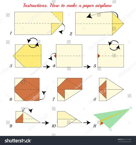 Steps To Make Paper - how make paper airplane paper stock vector