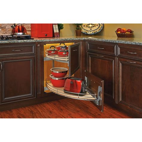 Blind Kitchen Cabinet Organizer Rev A Shelf 582 18 Two Tier Curve Blind Corner Organizer Lowe S Canada