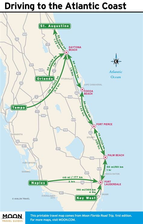 printable driving directions from one place to another road map of florida east coast map