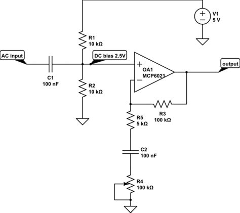 dc bias capacitor op how to lify a small ac no dc offset wave with an op powered from a 0 5v rail