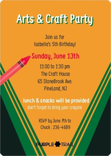 Colorful Crayon Box Birthday Party Invitation Kids Crayon Invitation Template