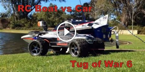 traxxas gas powered boats rc boat vs rc car go into a battle gas powered boat up