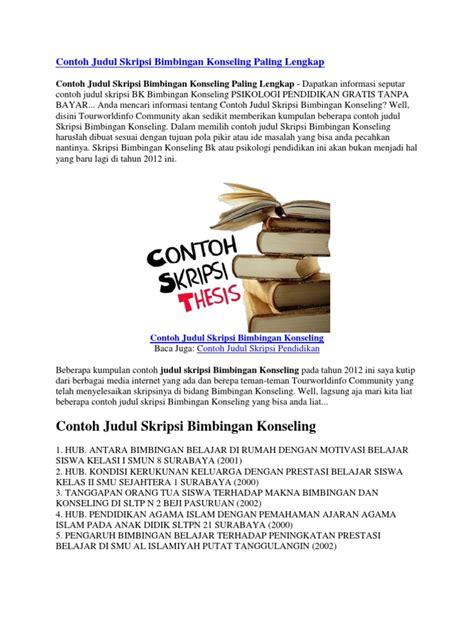 Bimbingan Skripsi contoh judul skripsi eksperimen bimbingan konseling