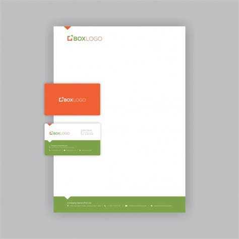 Business Letterhead Vector Free Green And Orange Business Card With Letterhead Template Vector Free
