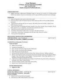 Sonogram Technician Sle Resume by Cardiovascular Tech Resume