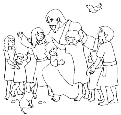 Jesus And The Children Coloring Page jesus the children coloring pages coloring home