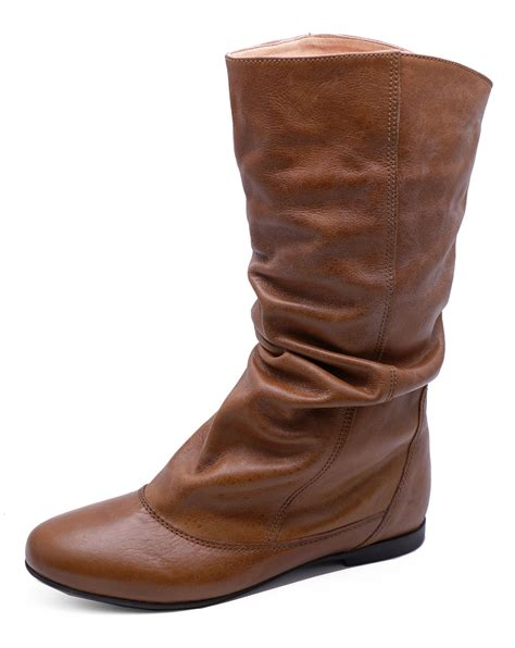 comfy boots real leather flat slouch comfy ruched knee