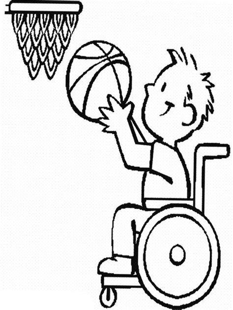 child disabilities athlete basketball coloring page